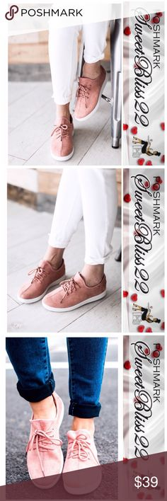 Blush Faux Suede Shoes Simply gorgeous slip on shoe! Just in time for summer! Functional strings, and super comfy. These shoes run a 1/2 size big, so order a 1/2 size down. Shoes
