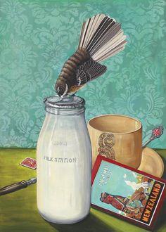 "Limited Edition - Angie Dennis ""Cream of the Crop"" Broken Pencil, New Zealand Art, Nz Art, Maori Art, Kiwiana, The Fragile, Mixed Media Artwork, Painting Still Life"