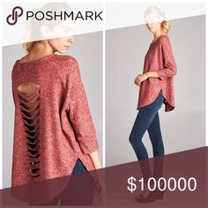 Plush velvety lazer cut back burgundy warm top! Loose fit, round neck, three-quarter length dolman sleeves, hi-low top. Drop shoulder. Rounded hems. Laser cut out detail at back. This top is made with heavyweight, brushed intermingle french terry knit fabric that is very velvety soft and plush, drapes well, is very warm, and stretches very well. Tops