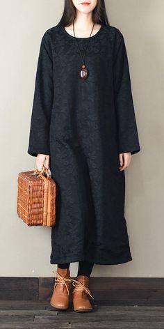 c592f8d465 Vintage Loose Thick Maxi Dresses Women Winter Clothes F30 Maxi Styles