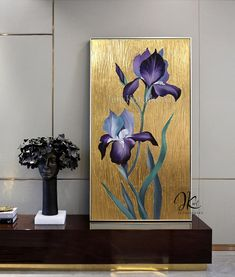 Abstract Tree Painting, Iris Painting, Gold Leaf Art, Painting With Gold Leaf, Gold Wall Decor, Oversized Wall Art, Painted Leaves, Gold Walls, Texture Painting
