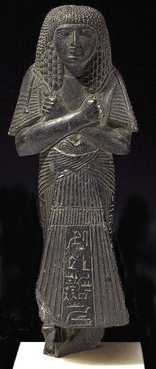 SHABTI OF AMENWAHSU Steatite 19th Dynasty, about 1295-1186 BC In the later 18th Dynasty there was a move away from the fashion of depicting the dead as mummies and towards representing them as living beings dressed in formal clothes.