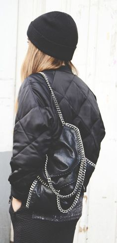 Michelle Nielsen is wearing quilted bomber jacket from Closed Official... | Style Inspiration