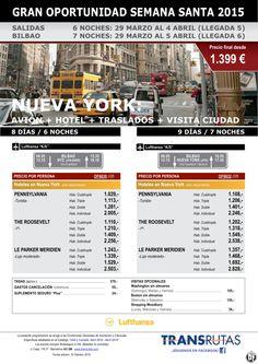 NUEVA YORK + Visita ciudad / 8 y 9 días ¡¡Gran Oportunidad Semana Santa: 29 marzo!! sal. Bilbao ultimo minuto - http://zocotours.com/nueva-york-visita-ciudad-8-y-9-dias-gran-oportunidad-semana-santa-29-marzo-sal-bilbao-ultimo-minuto/