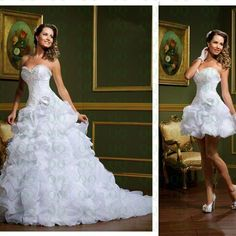 2 in 1 Removable Skirt Wedding Dress..... Great idea for the wedding after reception..... Sweet Discounts! Shop Now and Save!