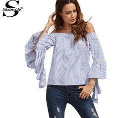 Sheinside Azul e Branco Listrado Fora Do Ombro Plissado Longo Alargamento Da Luva Das Mulheres Camisas Moda Verão Desgaste do Trabalho Blusa