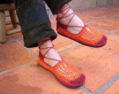 Lace up crochet SHOES  Mary Jane  Tangerine  CUSTOM MADE
