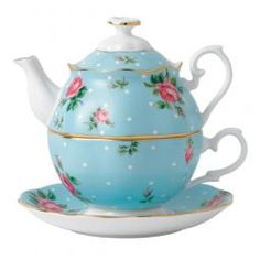 Royal Albert Polka Tea for one - blue vintage