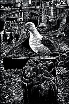 ARTFINDER: Thames Foreshore by Rebecca Coleman - Original, handmade wood engraving print. A herring gull swallows an eel on the River Thames, London, at low tide. I captured this while working by the river ...