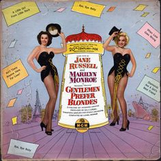 Vintage Record Album, Gentlemen Prefer Blondes, Jane Russell and Marilyn Monroe Album, MGM Records, Marilyn Monroe And Audrey Hepburn, Marilyn Monroe Movies, Blonde Movie, Wrong Love, Bye Bye Baby, Fox Movies, Australian Vintage, Jane Russell, Gentlemen Prefer Blondes