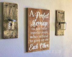 Perfect Marriage Rustic Wood Sign Wedding Gift Home by WCbyBettina