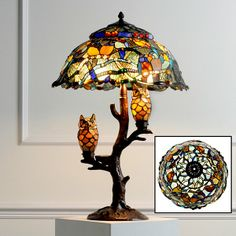 Tiffany OFF! Tiffany Style Dream Catcher with Illuminated Owl Table Lamp at HSN Tiffany Stained Glass, Stained Glass Lamps, Stained Glass Projects, Tiffany Glass, Antique Lamps, Vintage Lamps, Owl Home Decor, Owls Decor, Chandelier Lamp