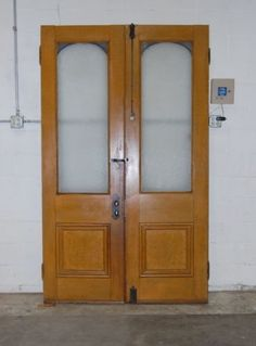 Antique 1880s Pine Double Entry Door Set w Opaque Glass Architectural Salvage & antique wood and brass double entrance storefront doors 52.5 x ...