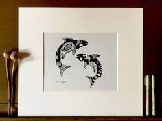 "Salmon fish print, animal art, pen and ink illustration, black and white design, 8"" x 10"", Native American, geometric pattern"