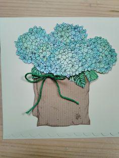 Hortensia's met aquarelpodlood en zelfgemaakte blenderpen