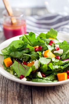 Roasted Butternut + Pomegranate Salad ~ http://www.healthy-delicious.com
