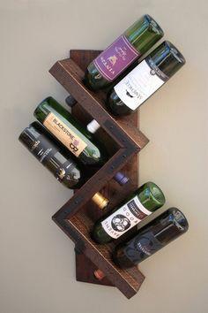70e582722c2 Zig Zag Rustic Wine Rack Sturdy Wood Wall Wine Rack Wine Prateleiras