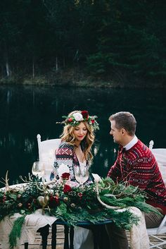 winter themed sweetheart table decorated with pine branches