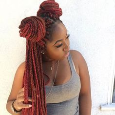 Long Red Box Braids - Space Buns Hairstyle