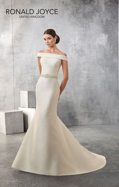 AMANDA  A CLASSIC LOOKING BATEAU NECK MIKADO SLIM FITTING GOWN WITH BEADED WAISTBAND, LOW BACK AND BUTTON DETAIL