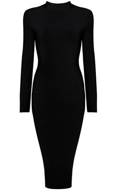 Dream it Wear it - Long Sleeve High Neck Midi Bandage Dress Black, £89.95 (http://www.dreamitwearit.com/bandage-dresses/long-sleeve-high-neck-midi-bandage-dress-black/)