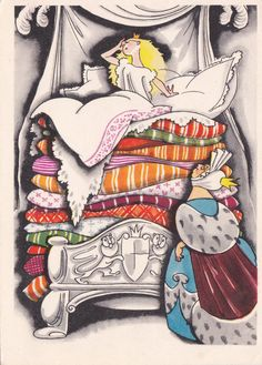 "Postcard Illustration by Goltz -- Hans Christian Andersen ""The Princess and the Pea"" - 1963, Soviet Artist"