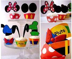 Mickey Minnie Cupcake Wrapper Topper Cumple Souvenir - $ 30,00