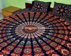 indian medallion bed | , Indian Tapestry, Hippie Tapestry, Indian Wall Hanging, Indian ...