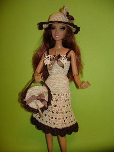 Crochet clothes for Barbie doll . Crochet Barbie Clothes, Doll Clothes Barbie, Barbie Dress, Dress Up, Barbie Doll, Handmade Clothes, Pattern Fashion, Beautiful Outfits, Short Dresses