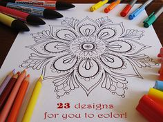"Free printable Mandala pages for ""grown-up"" coloring. I LOVE to color! :-)"