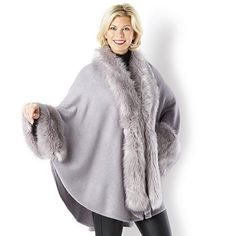 Frank Usher Faux Fur Trim Soft Knit Cape