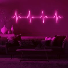 The First 5 Things You Should Buy When Decorating Your Living Room – Home Design Neon Room Decor, Neon Sign Bedroom, Neon Lights Bedroom, Pink Neon Lights, Custom Neon Signs, Led Neon Signs, Cool Neon Signs, Neon Aesthetic, Aesthetic Room Decor