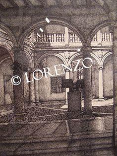 Almansa, Patio Casa Grande. Dibujo a plumilla sobre papel