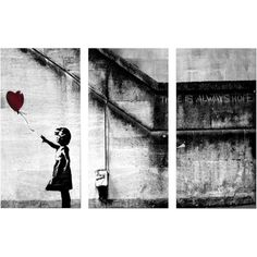 'Banksy 'Girl with Balloon' Triptych Gallery Wrapped Canvas Wall Art ($123) ❤ liked on Polyvore featuring home, home decor, wall art, black, quote canvas wall art, word wall art, black and white canvas wall art, girls wall art and typography wall art