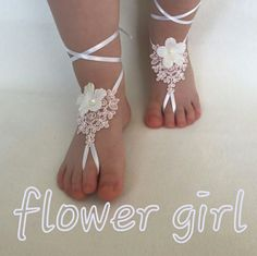Flower Girl 3D Beach Wedding Lace Barefoot Sandals Modern Princess Anklet Wedding Day Bangle Baptism Day Beach Gift To Your Daughter