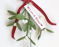 Quilled mistletoe christmas decoration Holiday ornaments