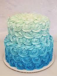 ombre rosette cake - with Maui and Moana toppers Pretty Cakes, Beautiful Cakes, Amazing Cakes, Cake Roses, Rose Cake, Gateau Baby Shower, Baby Shower Cakes, Ombre Rosette Cake, Ombre Blue Cake