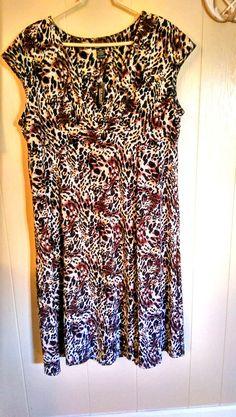 NWT GLAMOUR Womans Plus Size Dress Size 18W STRETCH Animal Print #Glamour #EmpireWaist