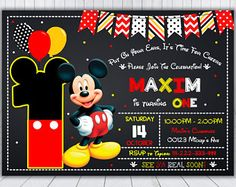 Mickey Mouse Invitation Mickey Mouse Birthday by Mickey Mouse Birthday Invitations, Mickey Mouse Clubhouse Party, Mickey Mouse Clubhouse Birthday, Mickey Birthday, Birthday Invitation Templates, 3rd Birthday, Theme Mickey, Fiesta Mickey Mouse, Mickey Mouse Photos