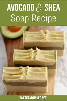 This cold process soap uses shea butter, avocado oil and fresh avocado. Scented with essential oils it makes for a gentle skin loving soap.Moisturizing Avocado & Shea Butter Soap (Using Fresh Avocado Puree) - Tweak and TinkerTweak and Tinker Handmade Soap Recipes, Soap Making Recipes, Handmade Soaps, Making Bar Soap, Handmade Headbands, Handmade Crafts, Handmade Rugs, Diy Peeling, Fresh Avocado
