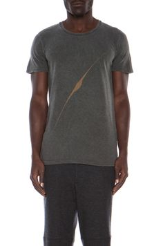 Robert Geller|Surface Printed Cotton-Blend Tee in Charcoal [1]