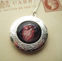 Anatomical Victorian Anatomy Heart Locket from Hoolala by hoolala, $29.50