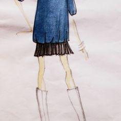 abito in fresco di lana con gonna plissè in crèpe georgette