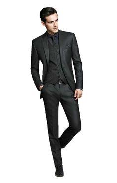 Men's Black Groom Tuxedos Business Best Man Slim Fit Formal Wedding Suit Custom Made at Amazon Men's Clothing store: