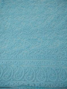 Blue Net Chikankari Suit (Kurta and Dupatta)