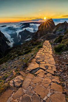 Stone Pathway between Arieiro Peak & Ruivo Peak, Madeira Island, Portugal ✯ ωнιмѕу ѕαη∂у Beautiful Nature Scenes, Amazing Nature, Beautiful World, Beautiful Places, Beautiful Pictures, Amazing Places, Porto Portugal, Portugal Travel, Spain And Portugal