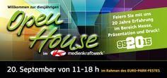 Besuchen Sie uns auf der Open House am Sonntag den 20. September - ab 11.00 Uhr  medienkraftwerk Euskirchen Felix-Wankel-Straße 13-15 53881 Euskirchen