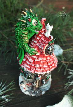 Christmas dragon house - fairy house tealight holder - fantasy sculpture - xmas decoration - dragon cat - winter - polymer clay - fimo art - hadmade - ooak by GloriosaArt