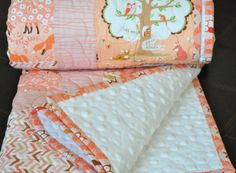 QUILT Baby/Toddler Les Amis peach by peekabootiquequilts on Etsy, $170.00