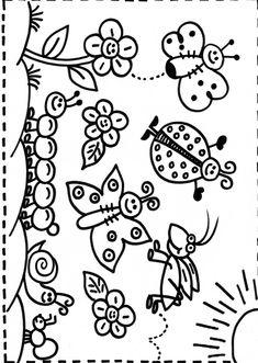 Bichinhos De Jardim Para Colorir Desenhos Para Colorir Imagixs Car – PampeKids.net Spring Crafts, Easy Drawings, Coloring Pages, Doodles, Clip Art, Pictures, English, Blog, Wall Drawing